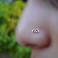 Infinity Nose Ring 14K Solid Rose Gold Handcrafted