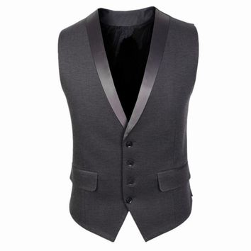 2016 New Arrivals Dress Vests For Men Slim Fit Mens Sleeveless Gilet V Collar Male Formal Wedding Waistcoat businesswear CH752