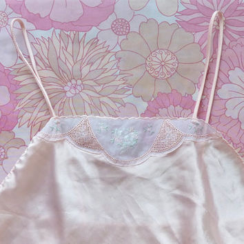 60s VAL MODE peach babydoll . vintage lingerie .sheer tutu . bow and flowers . spaghetti straps