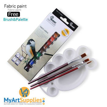 Acrylic Fabric Paints (12 Pack) With 3 Brushes & A Palette