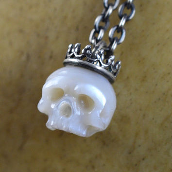 READY TO SHIP - Hand Carved Pearl Skull Necklace Wearing Sterling Silver Crown - Pearl Necklace - Skull Jewelry - Halloween Necklace - Gift