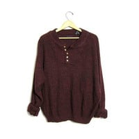 Slouchy Knit Henley Sweater Button Up Dark Red Maroon Boyfriend Pullover Oversized Slouchy 90s Knit Sweater Men's size XL