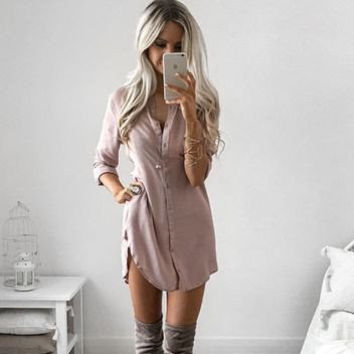 Vintage Casual Shirt Dress