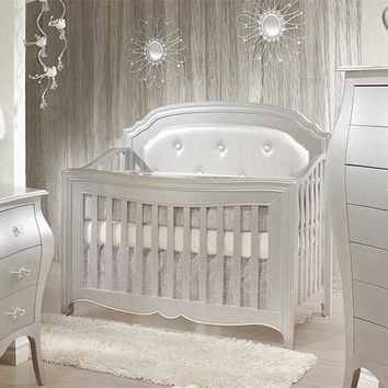 Alexa Convertible Crib Silver Button Tufted