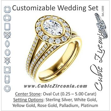 CZ Wedding Set, featuring The Maricela engagement ring (Customizable Bezel-Halo Oval Cut Ring with Wide Tapered Pavé Split Band & Decorative Trellis)