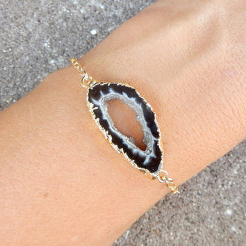Geode Slice Bracelet 14K Gold Freeform Druzy Crystal Quartz Rock Agate Boho Black White - Free Shipping OOAK Jewelry
