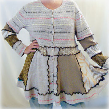 Womens Sweater, OOAK Handmade Sweater, Upcycled Bohemian Sweater, Altered Couture