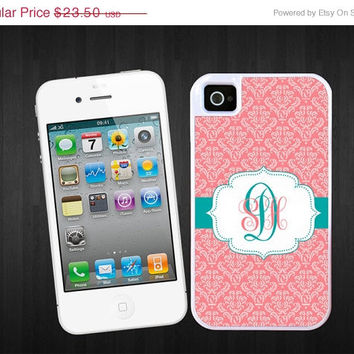 SALE Damask Monogram iPhone 4/4S / iPhone 5 tough case - Personalized iPhone 4, 5 hard case, 2 piece rubber lining case monogrammed
