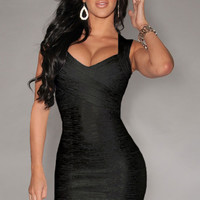 New Fashion Black Foil Print Bandage Dress Celebrity Style