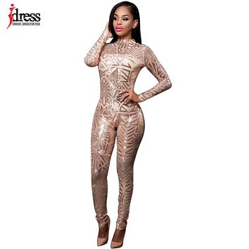 IDress 2017 Autumn Women Black Sequined Jumpsuit Mesh See Through Bodysuit Fashion Long Sleeve White Sexy Jumpsuits and Rompers