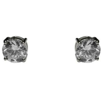 Ritsa Round Cut Stud Earrings –8mm | 1ct | Cubic Zirconia | Silver