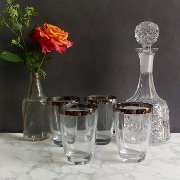 Dorothy Thorpe Style Silver Rimmed Low Ball Glasses Set of Four/ Mid Century Modern Glassware/ Vintage Tumblers/ Mid Century Glasses