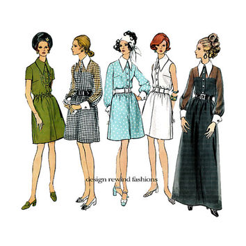 1960s VOGUE DRESS Pattern MAXI Shirtdress Pattern Day Dress with Poets Collar Vogue 2152 Basic Design Vintage Womens Sewing Patterns Bust 38