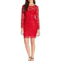 Jump Juniors' Long-Sleeve Glitter Lace Slim Dress with Open Back