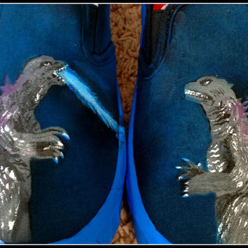 Womens Canvas Slip on Shoes, Godzilla Shoes, Womens Shoes, Godzilla, Gifts for Her, Geek Fashion-Shoes
