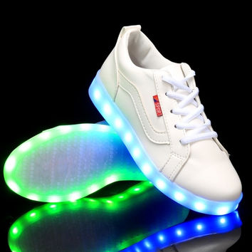 LED Light Lace Up Sneaker Casual Shoes