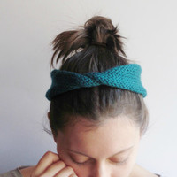 Headwrap Ear warmer for Women in Teal Twisted - Handknitted