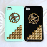 couple phone case punk style bronze bird with arrow protective case for iPhone 5/4/4s pyramid studs rivet  best friend lover gift set of 2