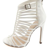 Super Strappy Caged High Heels by Charlotte Russe - White