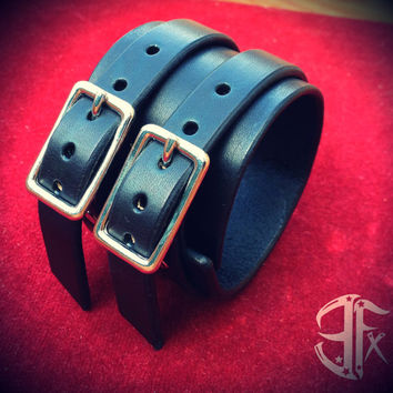 Custom Jet Black leather double strap & silver buckled wristband cuff 2 inches