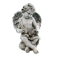 Home & Garden CHERUB WITH KITTEN Polyresin Garden Yard Decor 60426