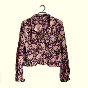 long sleeve floral print shirt button up blouse spring shirt purple black beige