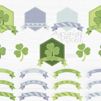 hexagon frame and ribbon banner clip art set, green, decorative, clover, st Patrick's day , for card, invitation, scrapbooking, PNG, digital