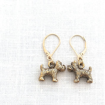 Scottie Dog Earrings, Gold Dog, Cute Animal Jewelry for Dog Lovers, Friendship Jewelry Gift, Leverback, Gold Jewelry, 596