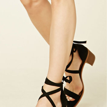 Faux Suede Ankle-Strap Heels