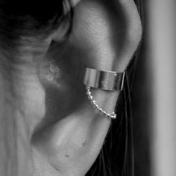 925 Sterling Silver Shiny Ear Cuff with Chain - Non Pierced Earrings - Cartilage Cuffs - Adjustable ear cuff - Boho ear cuff - Gift For her