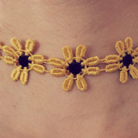 Yellow Sunflower choker