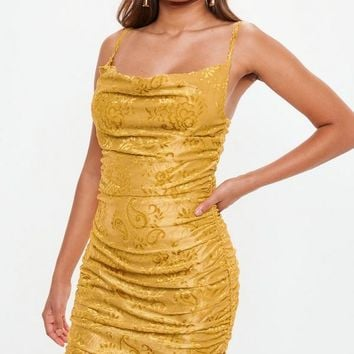 Missguided - Mustard Devore Cowl Mini Dress