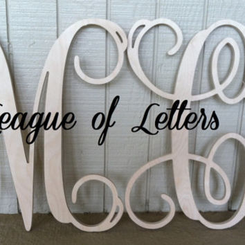 2 DEAL: Two 24 inch Single Unconnected Wooden Monogram Letters