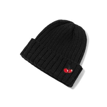 Double cherry beanie black