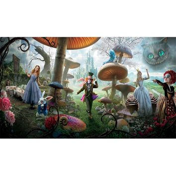 Alice in Wonderland Backdrop for Photography Forest Mushrooms Animals Castle Kids Birthday Party Stage Photo Booth Background