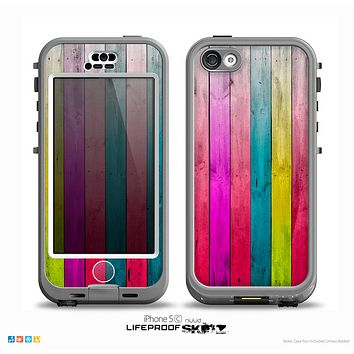 The Vibrant Neon Colored Wood Strips Skin for the iPhone 5c nüüd LifeProof Case