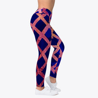 Blue and Gold Geometric Pattern Leggings