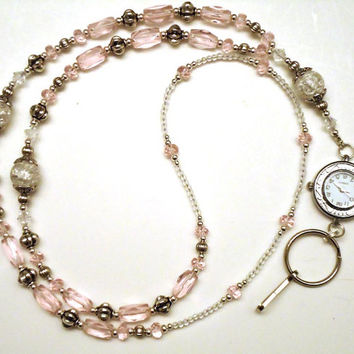 Pink Swarovski Crystal Watch Pink Clear Glass Beaded Lanyard ID Badge Holder