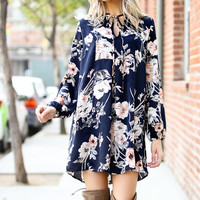 Capture the Moment Floral Dress (Navy)