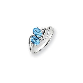 0.048 Ct  14k White Gold 6x4mm Oval Blue Topaz Diamond Ring VS2/SI1 Clarity and G/I Color