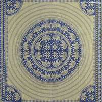 Queen Size Blue Elephant Dorm Decor Tapestry Wall Hanging Bedspread