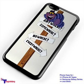 Alice in Wonderland Cheshire Cat Road Sign - Personalized iPhone 7 Case, iPhone 6/6S Plus, 5 5S SE, 7S Plus, Samsung Galaxy S5 S6 S7 S8 Case, and Other