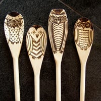 Set of 4 Wood burned owl spoons