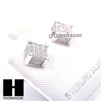 Iced Out Sterling Silver .925 Lab Diamond 6mm Square Push Back Earring SE024S