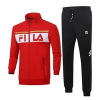 Fila autumn and winter tide brand men and women casual outdoor sports running clothes two-piece