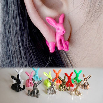 Fashion Cute Earrings 1pcs Punk Style Jewelry Dimensional Animal Bunny Rabbits Earrings Piercing Earrings For Girls EAR-0621 = 1705915524