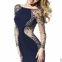 Sherri Hill Short Long Sleeved Navy Dress 32319