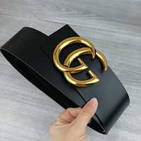 GUCCI Tide brand women's casual round buckle pin buckle smooth buckle belt black