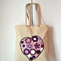 Canvas Tote bag, Heart flowers canvas tote bag, eco burlap bag reusable, crochet decor tote