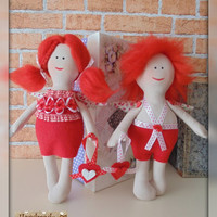 Sale! Free shipment worldwide Valentine's family - interior handmade dolls Tilda St. Valentine's Day Valentine 14th of February Gift for her